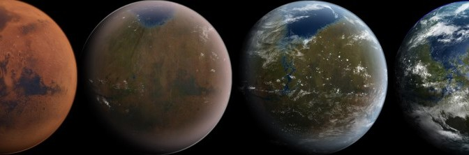 Mars as it might appear through various stages of terraforming. (Source: Wikimedia)