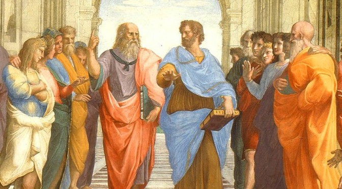 A debate in The School of Athens, by Raphael. Source: Wikimedia Commons.